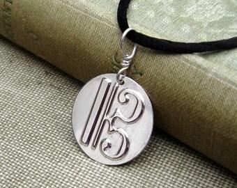 C Clef, Alto Clef Pendant Necklace, Music Jewelry, Viola Musician Gift, Music Teacher Gift, Soprano, Violist Unisex Alto Clef Necklace