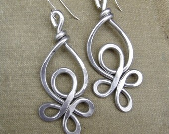 Celtic Knot Loops Unique Big Aluminum Earrings - Very Big Earrings Light Weight Aluminum Dangle - Celtic Knot Jewelry - Aluminum Jewelry