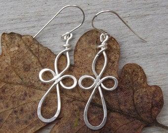 Loopy Celtic Cross Earrings, Sterling Silver Wire Cross Jewelry, Celtic Earrings, Celtic Jewelry Confirmation Gift, Communion Gift, Women