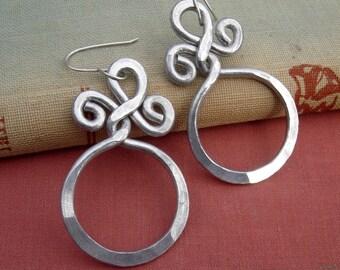 Aluminum Circle With a Twist Big Bold Earrings - Hoop Earrings - Large Unique Handmade Dangle Earrings - Aluminum Wire Jewelry, Hoops, Women