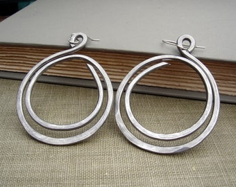 Very Big Hoop Earrings, Double Hoop Loop Light Weight Aluminum Jewelry, Gift for Her, Wife, Teen Hammered Hoops Handmade Hoop Earring, Women