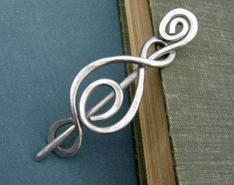 Madonna Swirl Aluminum Shawl Pin, Scarf Pin, Sweater Clip,Brooch, Fastener, Metal Wire, Women, Knitting Accessory, Jewelry, Accessories