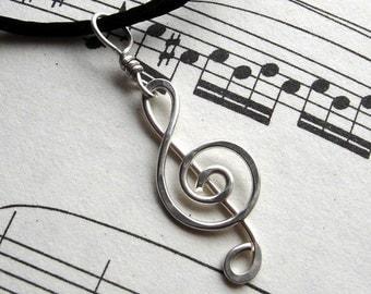 Treble Clef Necklace Pendant - G Clef- Musician Gift - Music Jewelry - Music Note - Sterling Silver Wire