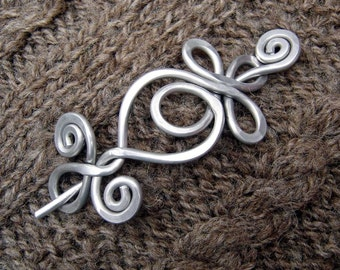 Loops and Spirals Celtic Shawl Pin, Aluminum Scarf Pin, Metal Hair Pin, Light Weight Celtic Accessories Sweater Closure Brooch Knitters Gift