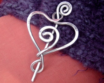 Aluminum Spiral Love Heart Shawl Pin, Valentine's Day Sweater Clip, Brooch, Scarf Pin, Fastener, Knitting Accessories, Women, Wife, Mother