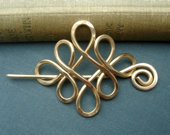 Brass Looping Crossed Knots Celtic Shawl Pin, Scarf Pin, Sweater Clip Brooch, Hair Pin - Wire Knitting Accessory, Women, Accessories