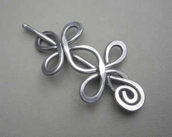 Celtic Double Crossed Loops Aluminum Shawl Pin, Hair Pin, Scarf Pin, Shrug Closure  Fastener Sweater Brooch, Hair Barrette  Metal Hair Slide