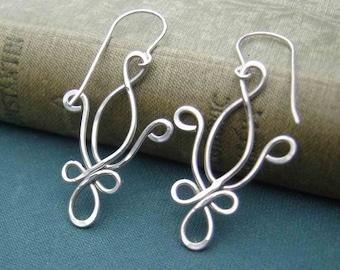 Fleur De Lis Earrings - Mardi Gras, New Orleans Jewelry, Sterling Silver Wire Jewelry, Fleur De Lis Jewelry, Dangle Earrings, French, Women