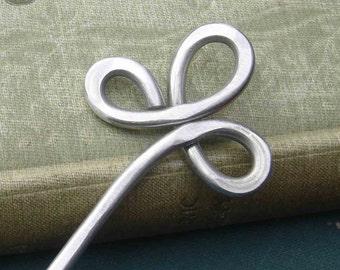 Trinity Clover Loops Aluminum Hair Stick, Shawl Pin, Scarf Pin, Bun Holder, Hair Pick Pin, Metal Hair Stick, Women, Long Hair Accessory