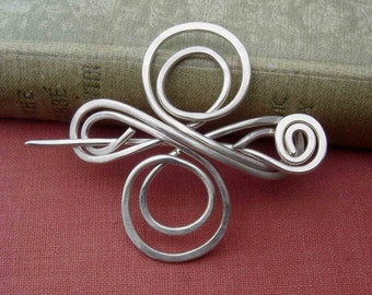 Celtic Knot Infinity Swirl Cross Sterling Silver Shawl Pin, Scarf Pin, Sweater Brooch, Celtic Jewelry, Fashion Accessories, Women, Knitting