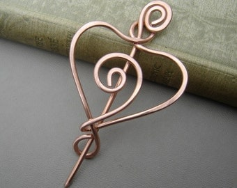 Spiral Love Heart Copper Shawl Pin, Scarf Pin, Sweater Fastener, Shrug Closure, Copper Brooch, Christmas Gift Heart Pin, Knitters Gift Women