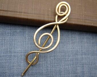 Madonna Swirl Brass Shawl Pin, Scarf Pin, Sweater Clip, Brooch, Sweater Fastener, Closure, Hair Pin, Jewelry, Knitting Accessories, Women