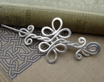 Celtic Double Swirls and Curls Sterling Silver Shawl Pin, Scarf Pin, Sweater Clip Brooch, Gift for Her Celtic Accessories, Knitting, Jewelry