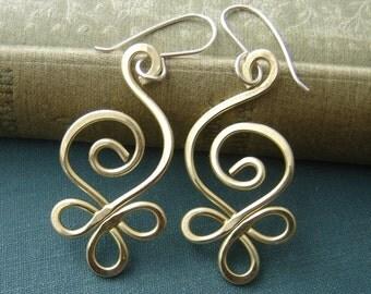 Celtic Budding Spiral Brass Earrings, Mother's Day Celtic Jewelry, Women, Handmade Gift for Her, Dangle Earring, Jewellery, Stocking Stuffer