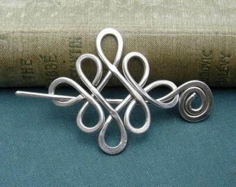 Looping Crossed Knots Celtic Sterling Silver Shawl Pin, Scarf Pin, Sweater Brooch, Fastener, Shawlette Closure - Women Knitting Accessories