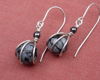 Tiny Snow Flake Obsidian Stone Earrings -  Sterling Silver Wire Wrapped Sphere - Small Stone Jewelry