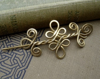 Little Brass Celtic Knot Double Swirls and Curls Shawl Pin, Scarf Pin, Sweater Clip, Brooch, Hair Pin, Barrette, Lace Shawl Pin, Knitting
