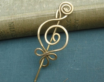 Little Celtic Budding Spiral Lace Shawl Pin, Scarf Pin, Sweater Brooch - Brass Hammered Pin - Celtic Accessory, Knitting Accessories, Women