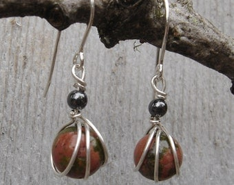 Small Unikite Sterling Silver Earrings - Wirewrapped Stone Bead with Hematite , Dangle, Women, Stone Jewelry