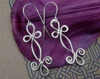 Celtic Sterling Silver Wire Dangle Earrings, Double Swirl Shamrock Whirl, Celtic Jewelry, Women, Handmade Gift, Dangle Earring