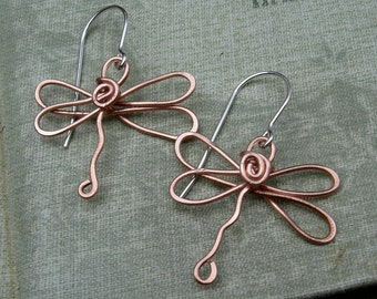 Copper Dragonfly Earrings, Dragonfly Jewelry Copper Wire, Valentines Day Gift for Her Copper Earrings, Women, Copper Jewelry