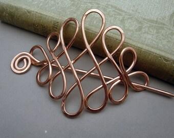 Large Celtic Looping Cross Knots Copper Hair Pin, Hair Barrette, Hair Slide, Hair Clip, Shawl Pin, Long Hair Accessories, Women