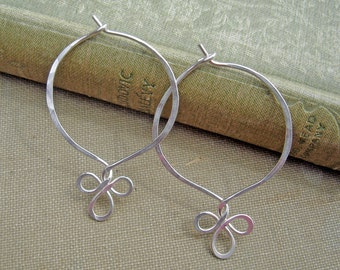 Sterling Silver Endless Hoop Earrings, Fancy Loop  Silver Wire Jewelry - Eternal Hoop - Silver Hoops, Boho Hammered Wire Gift for Women