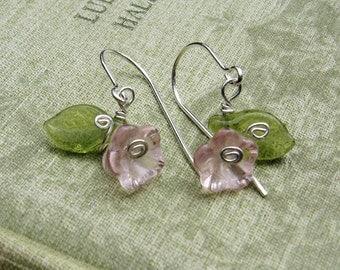 Little Pink Glass Flower Earrings, Sterling Silver Wire and Czech Glass Flower Jewelry, Flower Girl, Gift for Women, Stocking Stuffer