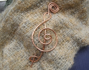 Big and Large Treble Clef Copper Shawl Pin, Scarf Pin, Hair Pin, Barrette, Hair Clip - Musician, Music,Long Hair Accessory, Knitting, G Clef