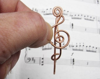 Little Treble Clef Copper Shawl Pin, Scarf Pin, Music Brooch, Musicians Gift for Her G Clef Music Jewelry, Music Accessories, Knitting Women