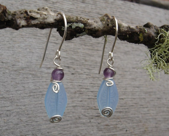 Small Light Blue Glass and Amethyst Silver Swirl Earrings - Sterling Silver Wire Dangle