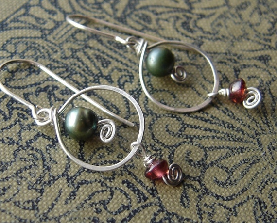 Green Pearl with Garnet Dangle Sterling Silver Earrings - Silver Wire Hoop Dangle Earrings - Women, Stone Pearl Jewelry