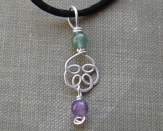 Sterling Silver Celtic Knot Pendant Necklace-  Amethyst and Aventurine Stone Beads Swirls Flower- Celtic Jewelry