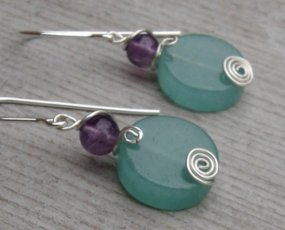 Green Aventurine and Amethyst Spiral Swirl Stone Silver Earrings - Christmas Gift for Her Dangle Earrings - Stone Jewelry, Women, Teen Girls