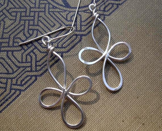 Celtic Cross Earrings, Celtic Knot Wire Cross Jewelry, Sterling Silver Celtic Jewelry, Gift for Her, Women, Dangle Earrings, Quatrefoil