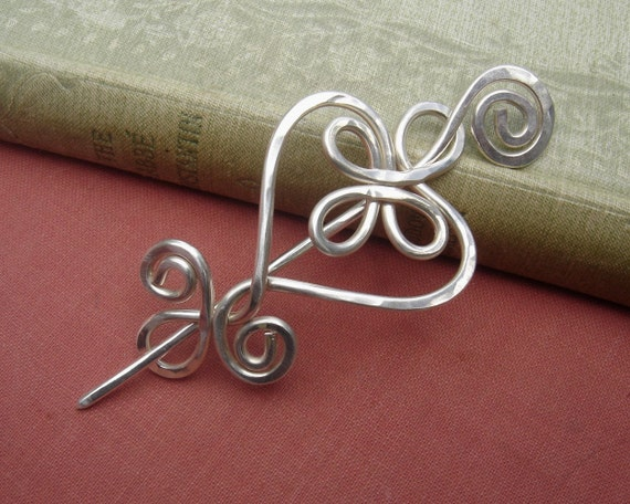 Celtic Heart and Swirls Sterling Silver Shawl Pin or Brooch