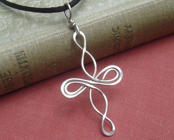 Celtic Cross Pendant, Infinity Loops Sterling Silver Necklace, Celtic Knot Jewelry, Christmas Wire Cross Confirmation Gift - First Communion