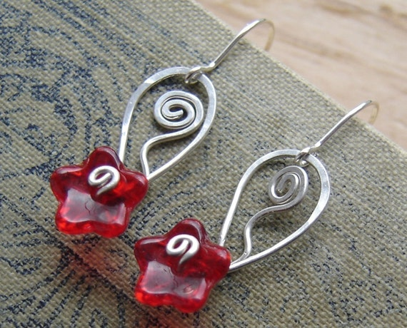 Ruby Red Glass Flower Earrings With Spiraling Leaf - Sterling Silver Wire