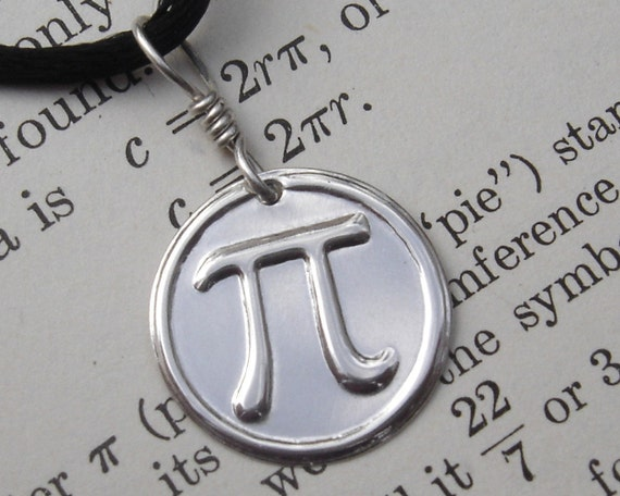 Pi Pendant Necklace- Mathematics - Geeky -Math Jewelry- Teacher Gift- Sterling Silver- Pi Jewelry-Science