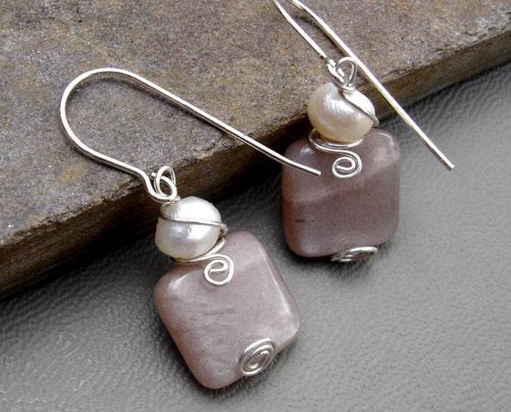 Shimmering Moonstone Fresh Water Pearl Swirl Earrings