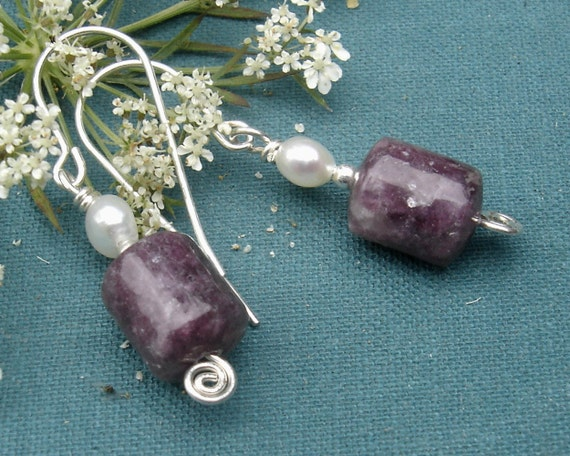 RESERVED for Jenny - Pearl and Lavender Lepidolite  Earrings - Sterling Silver Wire, Fresh Water Pearls, Stone Beads, Dangle - Stone Jewelry
