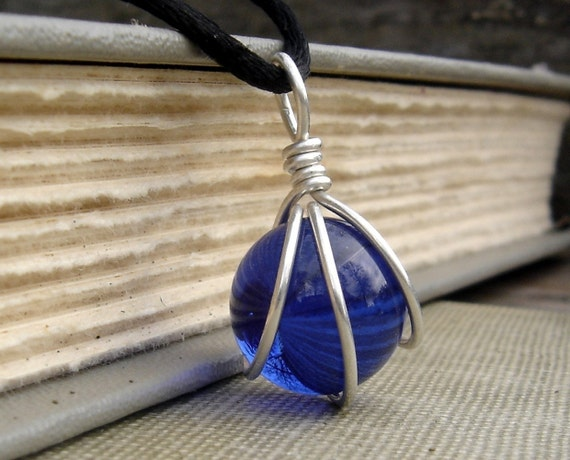 Cobalt Blue Glass Marble Pendant - Wire Wrapped Sterling Silver Necklace - Sapphire Blue Marble Jewelry