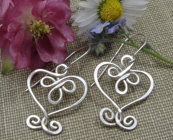 Celtic Hearts and Swirls Sterling Silver Earrings, Valentine's Day Gift for Her Heart Earrings, Celtic Jewelry, Silver Wire Earring, Women