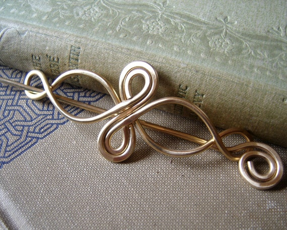 Celtic Infinity Loops Brass Shawl Pin / Hair Pin