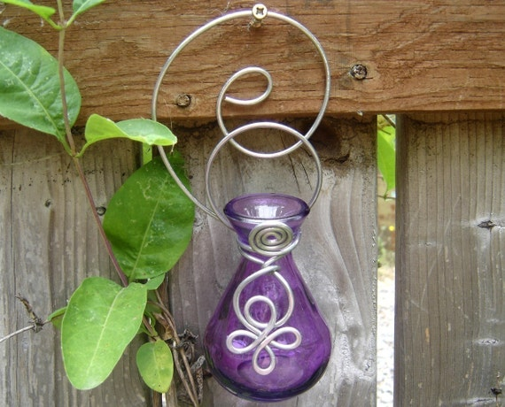 Purple Celtic Wall Hanging Vase - Flower Vase, Vessel, Home Decor, Patio, Porch, Outdoors Garden, Kitchen Window, Wall Decor, Plant Starter