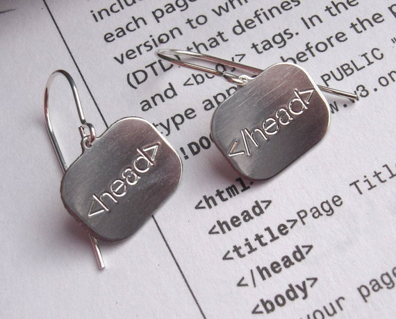 Html head Super Geeky and Nerdy Sterling Silver Earrings