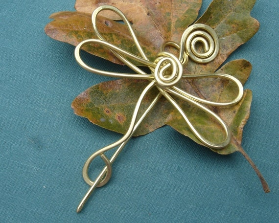 Dragonfly Brass Shawl Pin, Scarf Pin, Sweater Clip, Brooch, Shawlette Fastener, Closure - Wire-  Knitting Accessories - Jewelry, Women