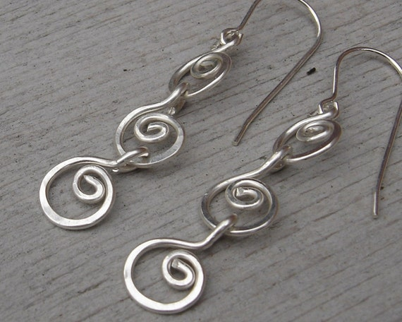 Three Little Swirls All in a Row Sterling Silver Dangle Earrings - Silver Wire Jewelry, Women, Chain Earring