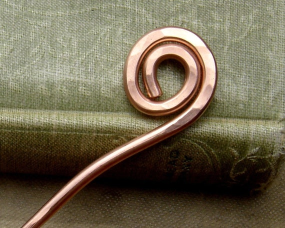 Simple Spiral Copper Hair Stick, Shawl Pin - Long Hair Accessory - Hair Toy, Bun Holder, Knitting, Women, Hair Accessories
