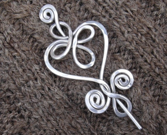 Celtic Heart and Swirls Aluminum Shawl Pin, Knitters Gift for Her Heart Pin, Sweater Clip, Heart Brooch, Fastener, Women, Knitting Accessory